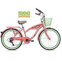 "Cruiser Girls Bicycle 24"" Beach City Comfort Commuter Pink Bike Wire Basket New!"