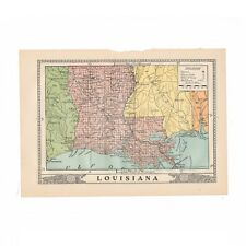 "Vintage map of Louisiana from 1902 disbound book ""The University Encyclopedia"""