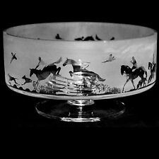 *COUNTRY GIFT*  24cm Boxed CRYSTAL GLASS COMPORT BOWL with HUNTING SCENE Frieze