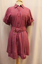 NEW Diane von Furstenberg Red Blue Striped Belted Shirt Dress Full Skirt M $428