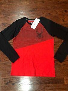 NWT$33 Spyder Youth Boy's Long Sleeve Ralgan Shirt Size L Cotton