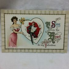 Vintage Embossed Valentine Postcard A Song From The Heart Unused