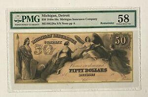 1840s-50s Michigan Detroit Insurance Company $50 PMG 58 Choice About UNC