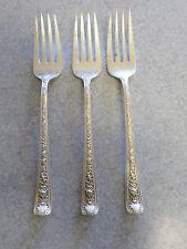"""Set of 3 Watson """"Windsor Rose"""" Sterling Silver, 6.5 inch salad forks, no mono"""