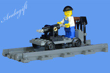 LEGO train straight track hand cart carriage jigger maintenance cart trolley