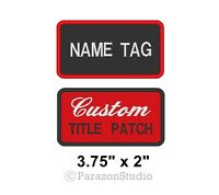 "Custom Embroidered Name Tag Sew on Patch Motorcycle Biker Badge 3.75"" x 2"" (A)"