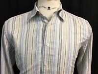 ROBERT GRAHAM Mens Medium M Long Sleeve Button Front Striped Shirt