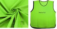 12 Scrimmage Vest Team Practice Pinnies YOUTH Soccer Football Jerseys Mesh Green
