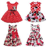 Mickey Minnie Mouse Kids Baby Girls Cartoon Bowknot Princess Dress Party Summer