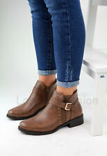 New Womens Ladies Flat Ankle Boots Buckle Side Zip Casual Low Heel Shoes Sizes