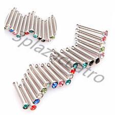 20 x Stainless Steel Nose Screw Studs Rings Rhinestone Crystal Gem Piercing Bars