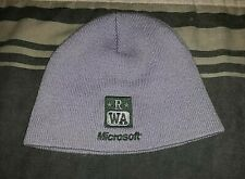 Rare Early 2000's Microsoft Redmond Washington Promo Winter Gray Beanie Hat
