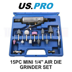 """US PRO 15pc MINI 1/4"""" AIR DIE GRINDER SET 8419"""
