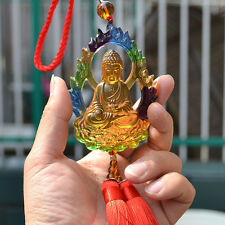 Liuli Crystal Buddha Amulet Pendant Wall Car Hanging Ornaments Fortune Gifts