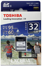 TOSHIBA EXCERIA 32 GB SD SDHC UHS-I U3 95MB MEMORY CARD 4K Ultra HD 32G CLASS 10