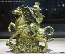 Chinese FengShui Brass Copper Sun Wukong Monkey King Ride Horse Animal Statue