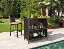 Ulax Furniture 3Pcs Patio Furniture Outdoor Wicker Bar Set with Stools