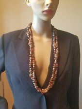 Vintage EXP made in Korea very long necklace 2 strands brown gold tones