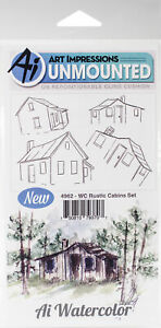 Art Impressions Watercolor Cling Rubber Stamps -Rustic Cabins