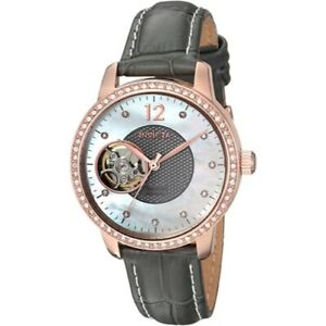 Invicta 22623 Objet d'Art Automatic Crystal Accented Grey Leather Womens Watch