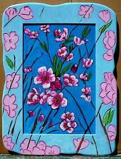 CALIFORNIA PLEIN AIR PEACH BLOSSOM PAINTING WITH ARTIST CARVED WOOD FRAME