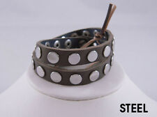 Linea Pelle Silver Flat Stud Double Wrap Bracelet STEEL