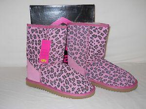 Ukala New Womens Ally Pink Cheetah Wool Boots 6 M Shoes
