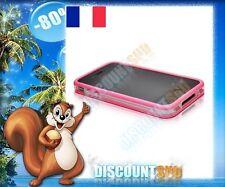 Bumper Tpu Rigide Boutons Métalliques transparent et rose iPhone 4S + film AV AR