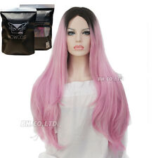 """27"""" Ombre Pink Dark Roots Long Curly Straight Wig Synthetic Hair Full Wigs New"""