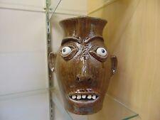 Marvin Bailey Southern Primitive Folk Art Face Pitcher Vase Jug Signed