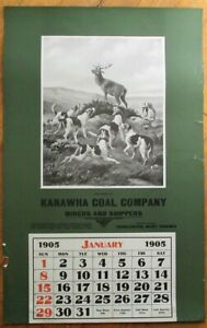 Charleston, WV 1905 Advertising Calendar/14x22 Poster: Kanawha Coal- Dogs & Stag