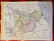 Old Map 1900 France Département de l'Eure Evreux Louviers Verneuil Droisy plan