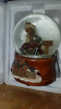 Boyd's Bears Helping Hands Musical Snow Globe Skaters Waltz Simone & Bailey used