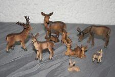 Tierfiguren Hirsch-/Rehfamilie 7erSet  1,9 cm - 7 cm h Krippenzubehör Dekoration