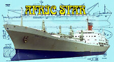"""Model Boat Printed Plans 1/196 Scale 62 """" Radio Control AFRIC STAR Cargo Ship"""