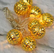 Battery Op Holiday Metal Ball Cap Lights String Ultra LED 8 Gold 4.5' C48-52