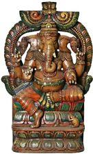 "JAI God GANESHA On Kirtimukha Arch Statue 35.5"" India Wood Crafted Figure 19 KG"
