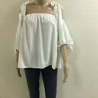 Shona Joy RRP $190 Made In AUS Cold Shoulder Top White Size 12-10