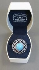 Lucky Brand Gifting Turquoise Blue Cabochon Silver Tone Statement Ring Sz 6- 8