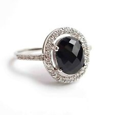 Sapphire & Cubic Zirconia 925 Genuine Sterling Silver Ring - US size 8