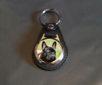 French Bulldog -Faux Leather Backed 25mm medallion Key ring - Dog, Gift