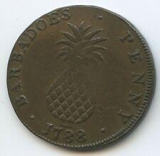 G2787 - Barbados 1 Penny 1788 KM#Tn5 SEHR RAR Erhaltung Ananas Indianer