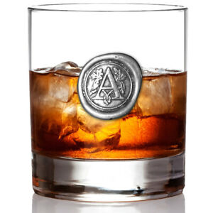 Personalised 11oz Whisky Glass Tumbler Pewter Wax Seal Initial of your choice