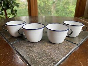 Vintage Enamel Cups Lot Of 4 Ker Sweden & French White Shabby Rusty Farmhouse