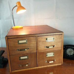 Vintage Desk Top Index Cabinet 4 Drawers Oak Wood Office Collector Crafter