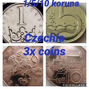 Czechia 🇨🇿 3x Coins Set 1 5 10 Koruna 2013/4 UNC Prague Brno CrownLions Animal