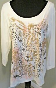 JMS Ivory/Gold Glitter Leopard 100% Cotton 3/4 Sleeved Tee Plus Size 1X 16W EUC