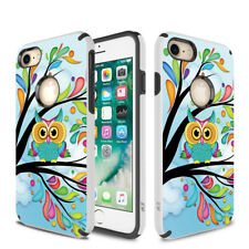 For iPhone 7 - SLEEK HYBRID Design Cover Dual Protection Case Cover - Owl