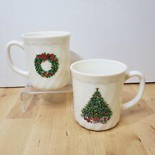 Christmas Tree Coffee Mugs House of Salem Noel Porcelle France Vintage