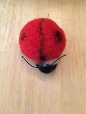 """Vintage Steiff Red Pompom Ladybug Wool Germany 1946-1969 No tag or button 2"""""""
